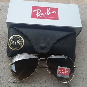 Brand New Brown Granite RayBan Aviators 62mm